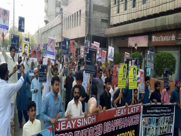A protest was held outside the Karachi Press Club earlier this year against the rising incidents of enforced disappearances in Pakistan's Sindh province. (File photo/ANI)