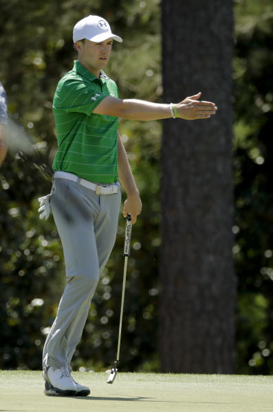 Jordan Spieth lines up his putt on the 14th hole during a practice round for the Masters golf tournament Tuesday, April 4, 2017, in Augusta, Ga. (AP Photo/Charlie Riedel)