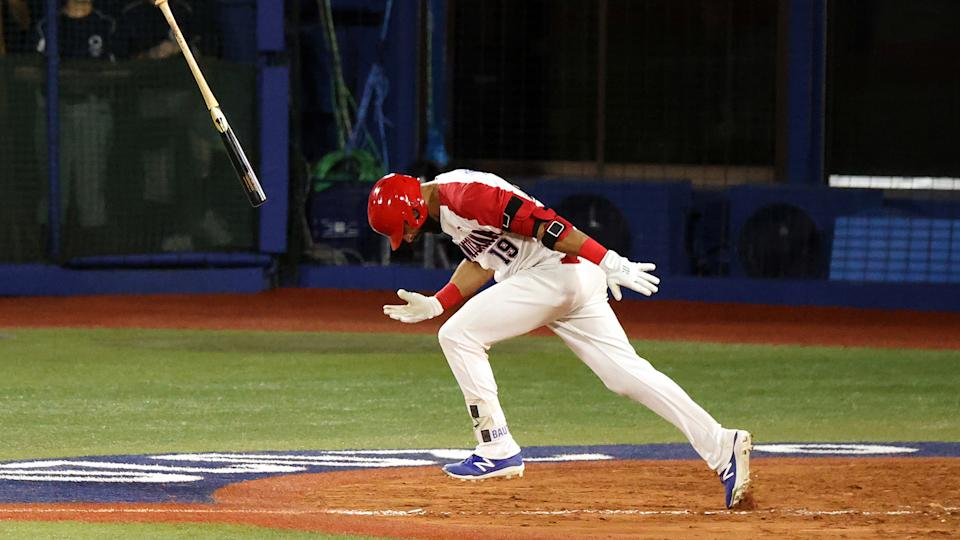 Another epic bat flip for Jose Bautista after delivering a clutch hit. (Photo by Yuichi Masuda/Getty Images)