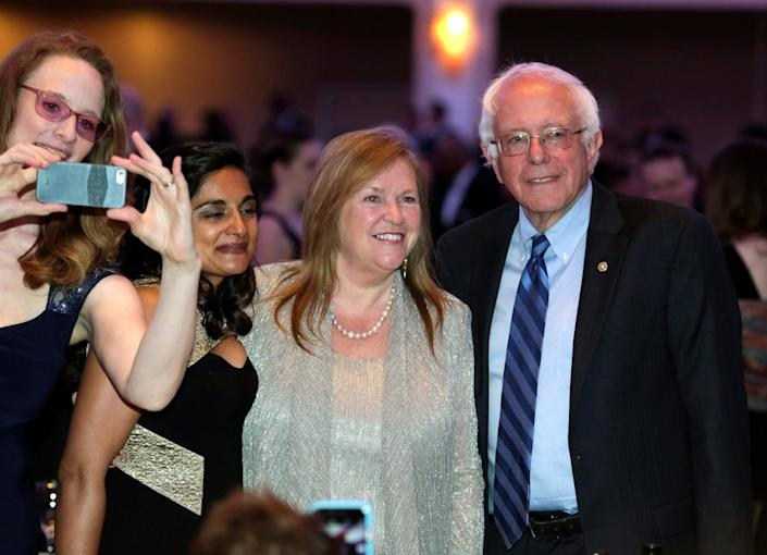 <p>Democratic presidential candidate Bernie Sanders and his wife, Jane, attend the White House Correspondents' Dinner, April 30. <i>(Photo: Yuri Gripas /Reuters)</i></p>