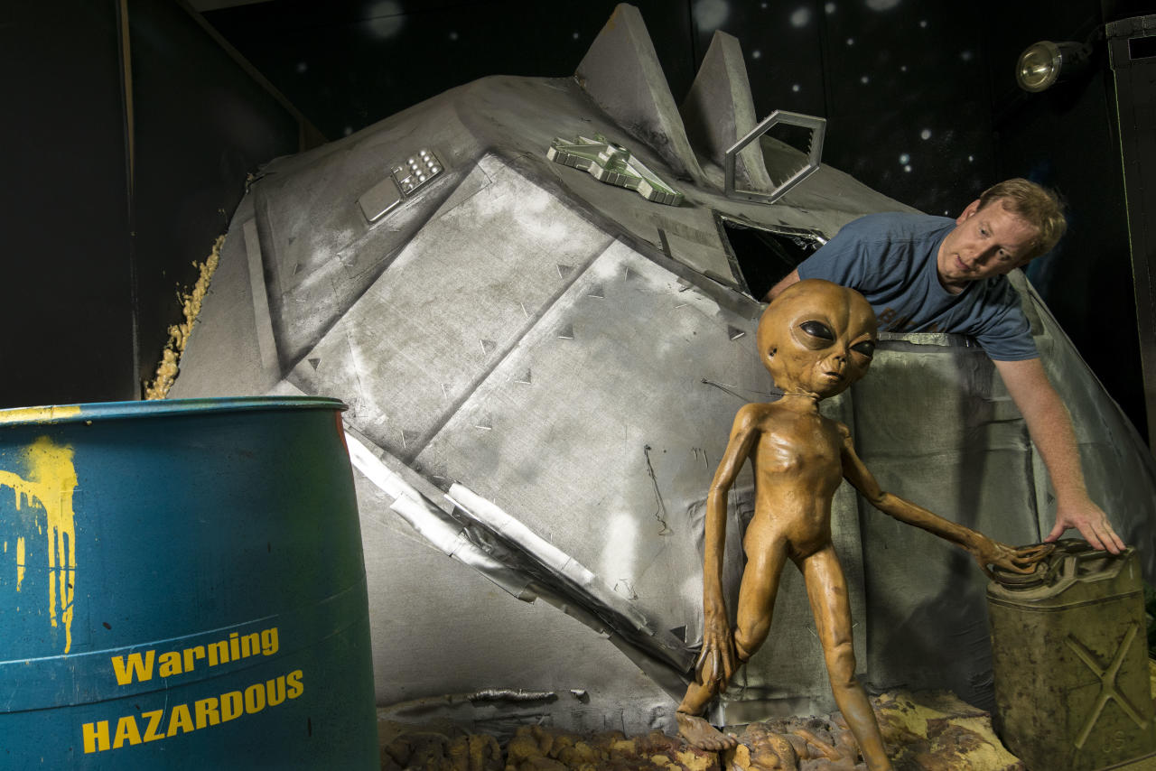 <p><span>Chris Burton had dreamed of visiting Roswell since he was a child but was stunned when he found himself locked in the International </span><span>UFO</span><span> Museum and Research Center during a recent trip. </span> (Photo: Chris Burton/Caters News) </p>