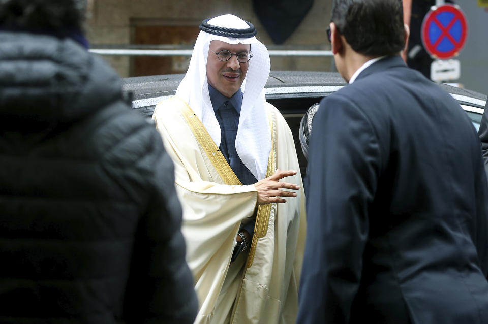 Prince Abdulaziz bin Salman Al-Saud, Minister of Energy of Saudi Arabia, arrives for a meeting of the Organization of the Petroleum Exporting Countries, OPEC, and non OPEC members at their headquarters in Vienna, Austria, Friday, March 6, 2020. (AP Photo/Ronald Zak)