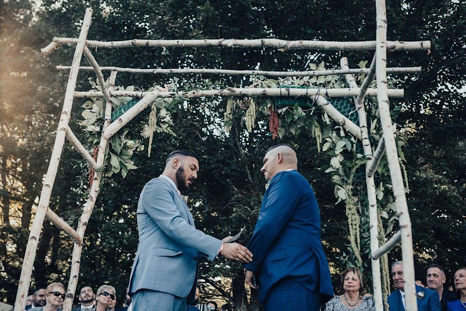 """<p>Gregory and Peter got married at Grey Havens Inn in Georgetown, Maine on September 28, 2019 after dating for four years. Since the wedding, both have really taken to heart something that Peter said in his vows: """"We have just begun to see the world after four years together and we have focused so hard on building our foundation because we believe in each other. There has not been a single other time in my life when I felt more confident to walk through the challenges life puts in front of us, than this very moment.""""</p>"""
