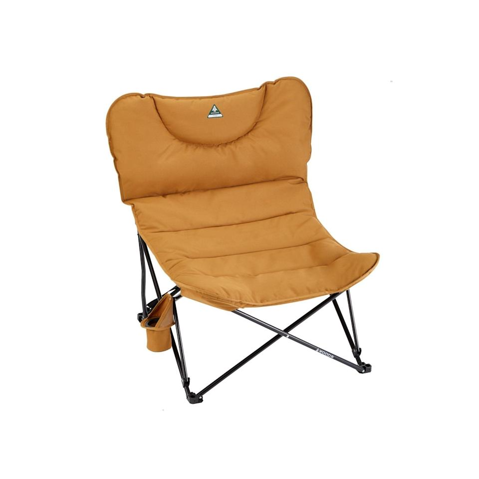"""<h2>Woods Canada Folding Padded Camping Chair</h2><br>One member of our team loves this portable """"camping"""" chair so much, she currently uses it inside her home — it's just that comfy (and retro-chic). Crafted from luxuriously padded 600-denier polyester fabric, it comes durably structured with 400-lb weight capacity and the easy foldup portability of a carrying bag plus adjustable shoulder strap that can take you from house to park and beyond. <br><br><em>Shop</em> <strong><em><a href=""""https://www.woodscanada.com/products/woods-mammoth-folding-padded-camping-chair-sea-spray"""" rel=""""nofollow noopener"""" target=""""_blank"""" data-ylk=""""slk:Woods Canada"""" class=""""link rapid-noclick-resp"""">Woods Canada</a></em></strong><br><br><strong>Woods</strong> Mammoth Folding Padded Camping Chair, $, available at <a href=""""https://go.skimresources.com/?id=30283X879131&url=https%3A%2F%2Fwww.woodscanada.com%2Fproducts%2Fwoods-mammoth-folding-padded-camping-chair-dijon"""" rel=""""nofollow noopener"""" target=""""_blank"""" data-ylk=""""slk:Woods"""" class=""""link rapid-noclick-resp"""">Woods</a>"""