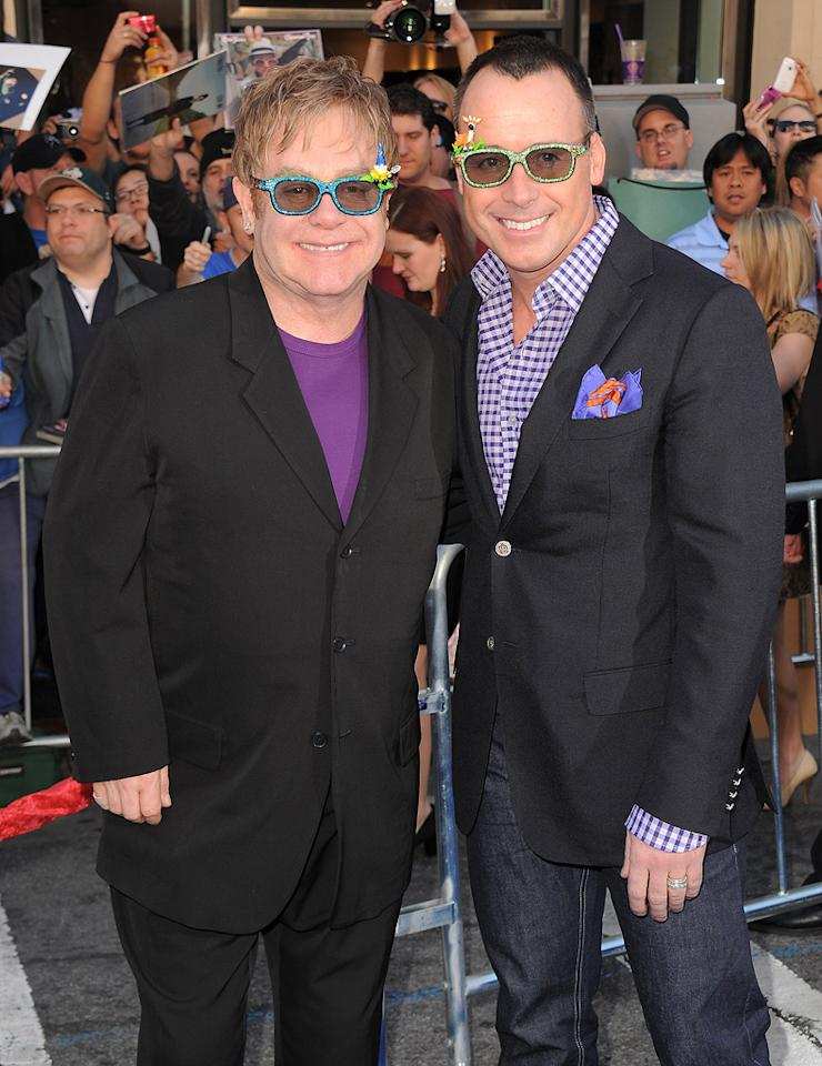 "<a href=""http://movies.yahoo.com/movie/contributor/1808896167"">Elton John</a> and David Furnish attend the Los Angeles premiere of <a href=""http://movies.yahoo.com/movie/1810080528/info"">Gnomeo & Juliet</a> on January 23, 2011."