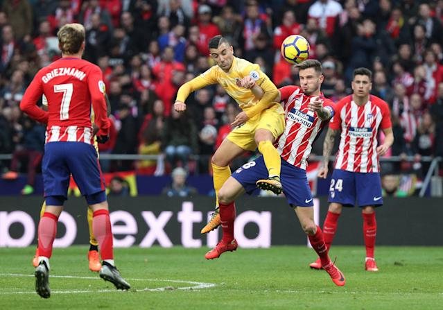 Soccer Football - La Liga Santander - Atletico Madrid vs Girona - Wanda Metropolitano, Madrid, Spain - January 20, 2018 Girona's Borja in action with Atletico Madrid's Saul Niguez REUTERS/Sergio Perez