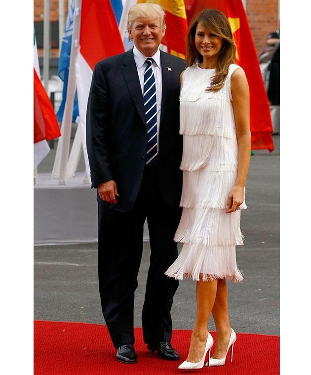 Melania was also spotted in a $3,940 Michael Kors fringed dress during the tour. Photo: Getty