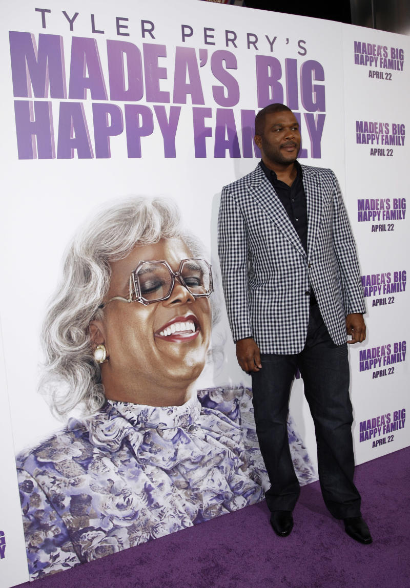 "Tyler Perry arrives at the premiere of ""Madea's Big Happy Family"" in Los Angeles on Tuesday, April 19, 2011.   ""Madea's Big Happy Family"" opens in theaters April 22. (AP Photo/Matt Sayles)"