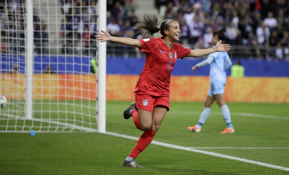 United States' Mallory Pugh celebrates after scoring her side's 11th goal during the Women's World Cup Group F soccer match between United States and Thailand at the Stade Auguste-Delaune in Reims, France, Tuesday, June 11, 2019. (AP Photo/Alessandra Tarantino)