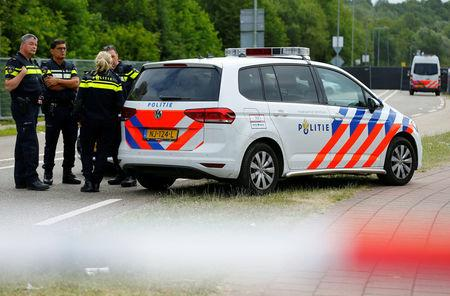 Police is seen near an incident scene where a van struck into people after a concert in Landgraaf