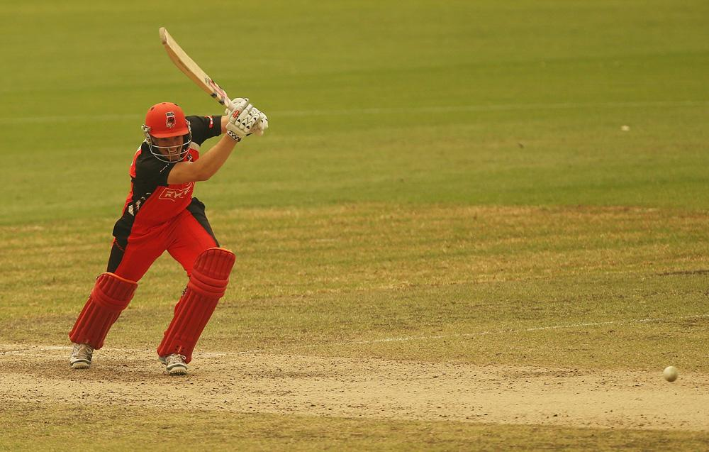 Michael Klinger of the Redbacks bats during the Ryobi Cup match between the South Australian Redbacks and the Western Australia Warriors at Drummoyne Oval on October 17, 2013 in Sydney, Australia.  (Photo by Mark Metcalfe/Getty Images)