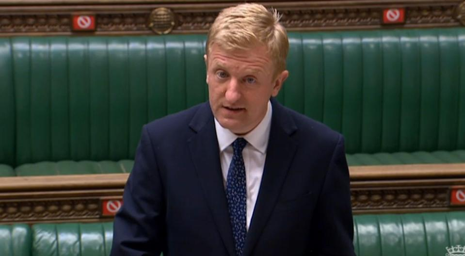 <p>Culture secretary Oliver Dowden speaking in parliament on Monday</p> (PA)