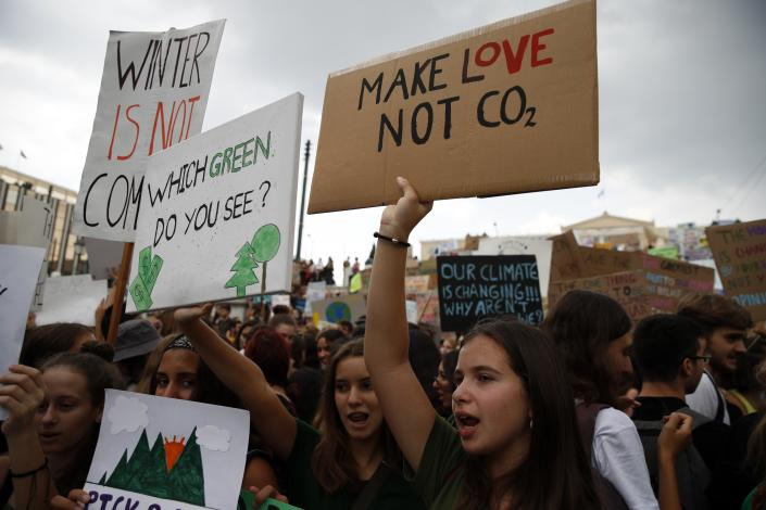 Climate protesters demonstrate in Athens, Greece, Friday, Sept. 20, 2019. (Photo: Thanassis Stavrakis/AP)