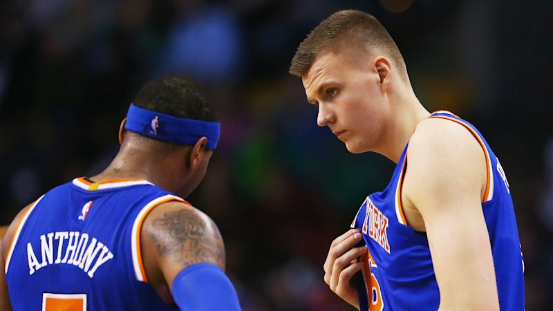 Carmelo Anthony to Knicks fans: Don't pressure Kristaps Porzingis 'to be great so fast'