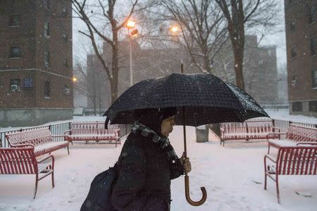 A woman walks through the Marcy Houses public housing development in the Brooklyn borough of New York January 9, 2015. REUTERS/Stephanie Keith