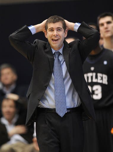 Butler coach Brad Stevens reacts during the second half of an NCAA college basketball game against the George Washington, Saturday, Feb. 9, 2013, in Washington. Butler won 59-56. (AP Photo/Nick Wass)