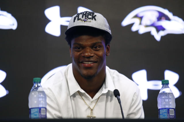 Quarterback Lamar Jackson, the 32nd overall pick of the Baltimore Ravens in this year's NFL draft, took part in rookie minicamp last weekend. (AP)