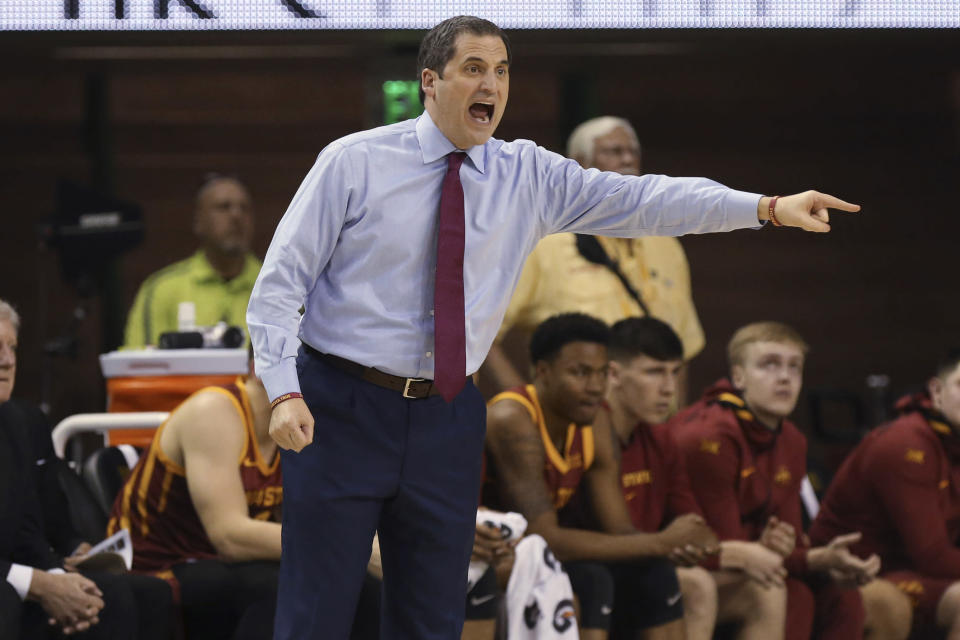 Iowa State coach Steve Prohm calls out to his team during the first half of an NCAA college basketball game against Baylor, Wednesday Jan. 15, 2020, in Waco, Texas. (AP Photo/Jerry Larson)