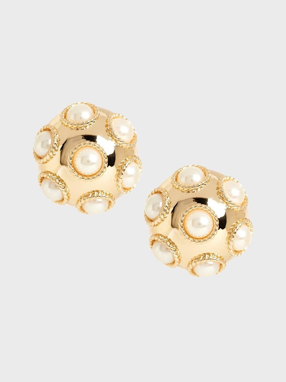 """<p>These <span>Banana Republic Large Studded Pearl Earrings</span> ($58) truly complete the look. VP-elect Harris is known to accessorize with her signature pearls, <a href=""""https://www.popsugar.com/fashion/kamala-harris-pearl-necklace-style-47792392"""" class=""""link rapid-noclick-resp"""" rel=""""nofollow noopener"""" target=""""_blank"""" data-ylk=""""slk:a look she's been rocking since her days at Howard University"""">a look she's been rocking since her days at Howard University</a>!</p>"""
