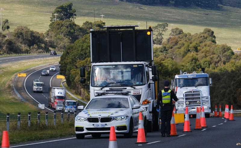 A checkpoint set up on the Calder Highway near Gisborne. Source: AAP