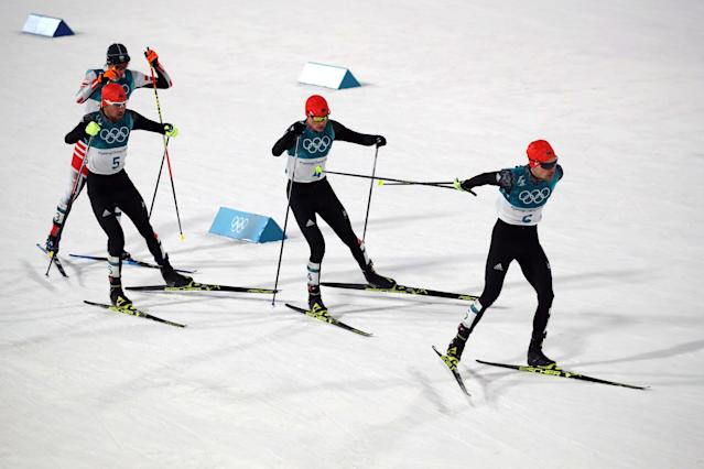 Nordic Combined Events - Pyeongchang 2018 Winter Olympics - Men's Individual 10 km Final - Alpensia Cross-Country Skiing Centre - Pyeongchang, South Korea - February 20, 2018 - Wilhelm Denifl of Austria, Johannes Rydzek of Germany, Eric Frenzel of Germany and Fabian Riessle of Germany in action. REUTERS/Carlos Barria