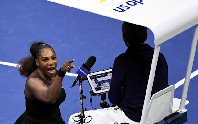 Williams berates umpire Carlos Ramos during the US Open 2018 final - USA TODAY Sports