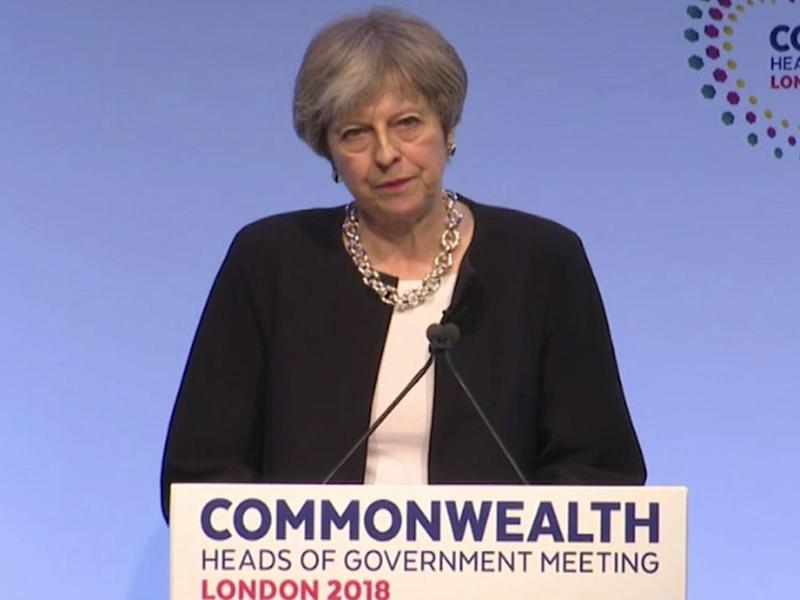 Theresa May speaks at the Commonwealth Heads of Government meeting conference