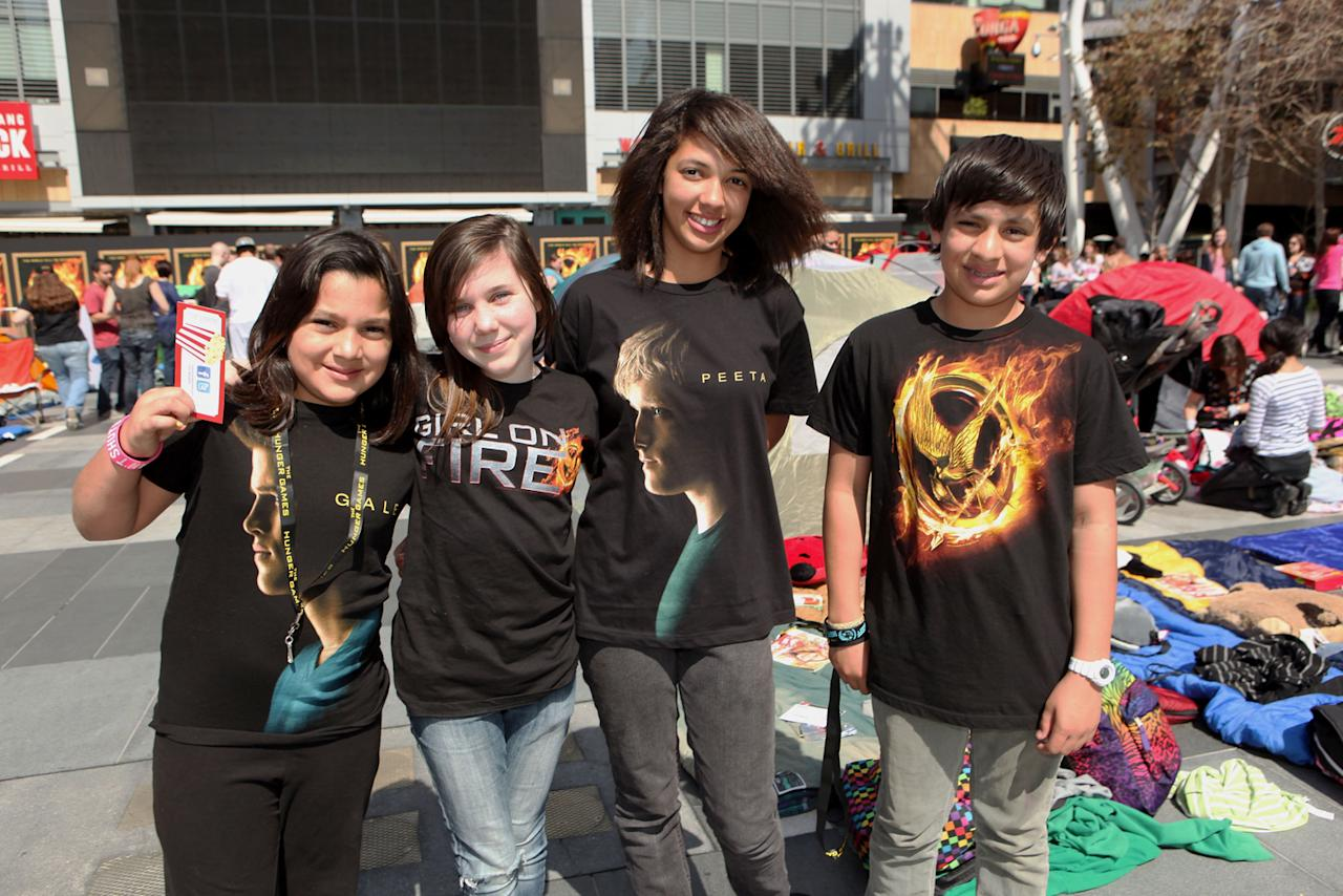 """Fans at """"The Hunger Games"""" World Premiere: """"The Hob"""" Fan Event held at Nokia  Theatre LA Live on March 11, 2012 in Los Angeles, California."""