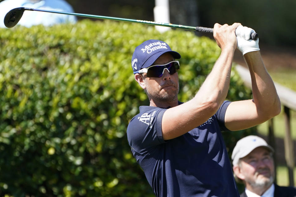 Henrik Stenson of Sweden watches his drive from the first tee during the first round of the Sanderson Farms Championship golf tournament in Jackson, Miss., Thursday, Oct. 1, 2020. (AP Photo/Rogelio V. Solis)