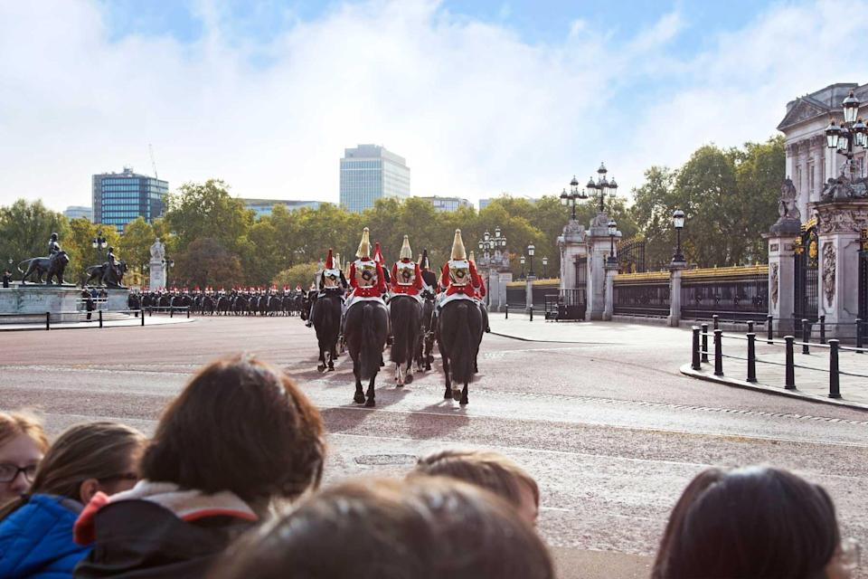 The guards of the Buckingham Palace during the traditional Changing of the Guard ceremony London United Kingdom.
