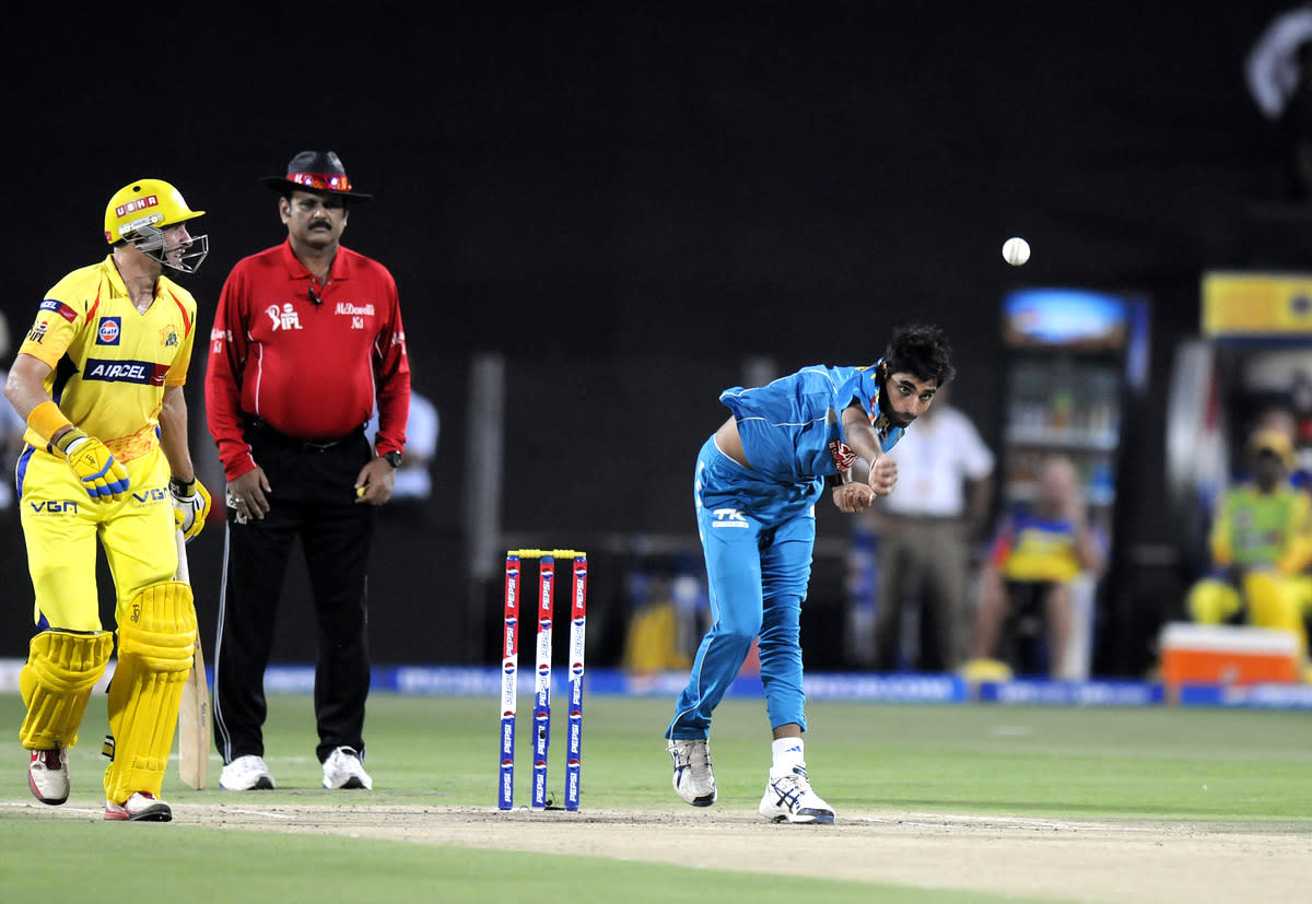 Bhuvneshwar Kumar of Pune Warriors bowls during match 42 of the Pepsi Indian Premier League ( IPL) 2013  between The Pune Warriors India and the Chennai Super Kings held at the Subrata Roy Sahara Stadium, Pune on the 30th April  2013.(BCCI)