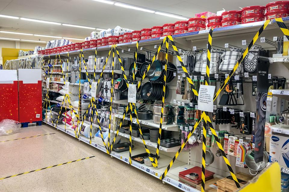 Supermarkets in Wales have been told to remove or cordon off 'non-essential' itemsPA