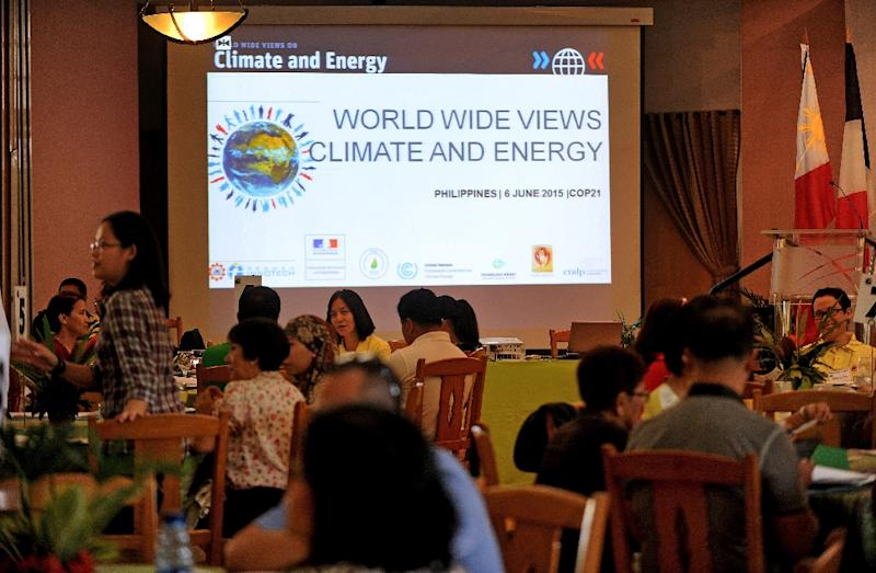 """Participants attend a climate debate forum titled """"World Wide Views on Climate and Energy"""" in Manila on June 6, 2015 (AFP Photo/Jay Directo)"""