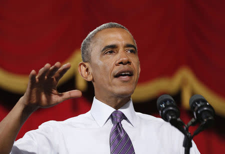 U.S. President Barack Obama talks about the economy at the Uptown Theater in Kansas City