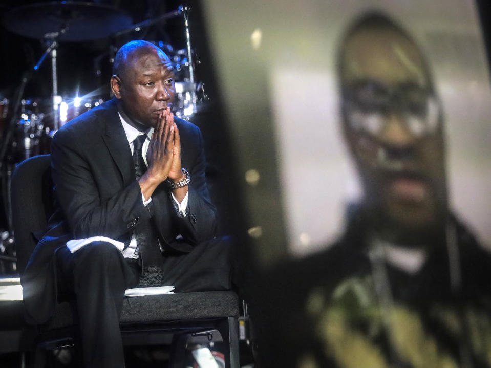 FILE - In this Thursday, June 4, 2020 file photo, attorney Ben Crump attends a memorial service for George Floyd at North Central University in Minneapolis. Hollywood celebrities, musicians and political leaders gathered in front of the golden casket of Floyd, whose death at the hands of police sparked global protests. (AP Photo/Bebeto Matthews)