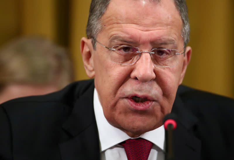 FILE PHOTO: Russian Foreign Minister Lavrov addresses the Conference on Disarmament in Geneva