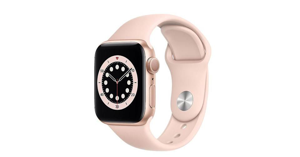 """<p>Apple - £379.00</p><p><a class=""""link rapid-noclick-resp"""" href=""""https://go.redirectingat.com?id=127X1599956&url=https%3A%2F%2Fwww.johnlewis.com%2Fapple-watch-series-6-gps-40mm-gold-aluminium-case-with-pink-sand-sport-band-regular%2Fp5135755&sref=https%3A%2F%2Fwww.elle.com%2Fuk%2Ffashion%2Fwhat-to-wear%2Farticles%2Fg31918%2Fbest-watches-to-buy-this-season%2F"""" rel=""""nofollow noopener"""" target=""""_blank"""" data-ylk=""""slk:SHOP NOW"""">SHOP NOW</a></p>"""
