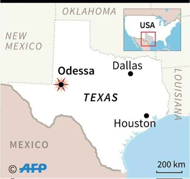 Map locating the scene of a shooting spree in Odessa, Texas (AFP Photo/AFP)