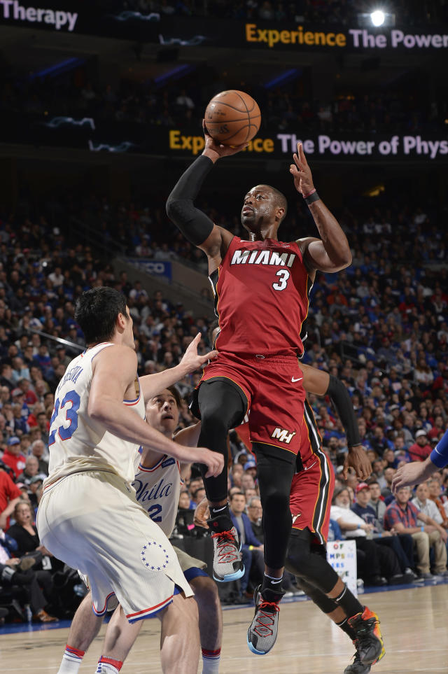 PHILADELPHIA, PA - APRIL 16: Dwyane Wade #3 of the Miami Heat shoots the ball against the Philadelphia 76ers in Game Two of Round One of the 2018 NBA Playoffs on April 16, 2018 at the Wells Fargo Center in Philadelphia, Pennsylvania. (Photo by David Dow/NBAE via Getty Images)