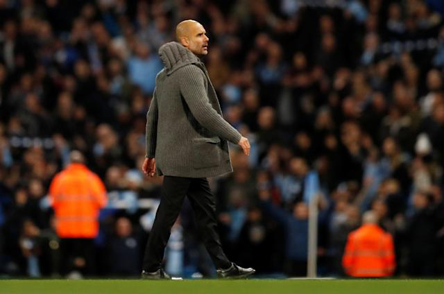 """Soccer Football - Premier League - Manchester City v Manchester United - Etihad Stadium, Manchester, Britain - November 11, 2018 Manchester City manager Pep Guardiola celebrates after the match REUTERS/Darren Staples EDITORIAL USE ONLY. No use with unauthorized audio, video, data, fixture lists, club/league logos or """"live"""" services. Online in-match use limited to 75 images, no video emulation. No use in betting, games or single club/league/player publications. Please contact your account representative for further details."""