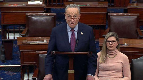 PHOTO: Sen. Minority Leader Chuck Schumer speaks on the floor of the Senate, Dec. 19, 2019, the day after the house voted to impeach President Donald Trump. (ABC News)
