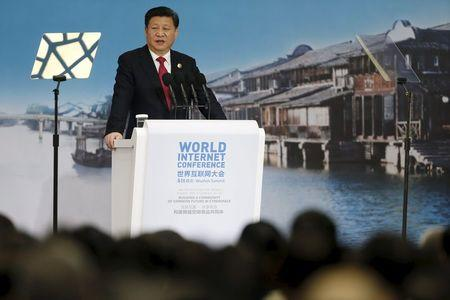 China's President Xi Jinping speaks during the opening ceremony of the 2nd annual World Internet Conference in Wuzhen town