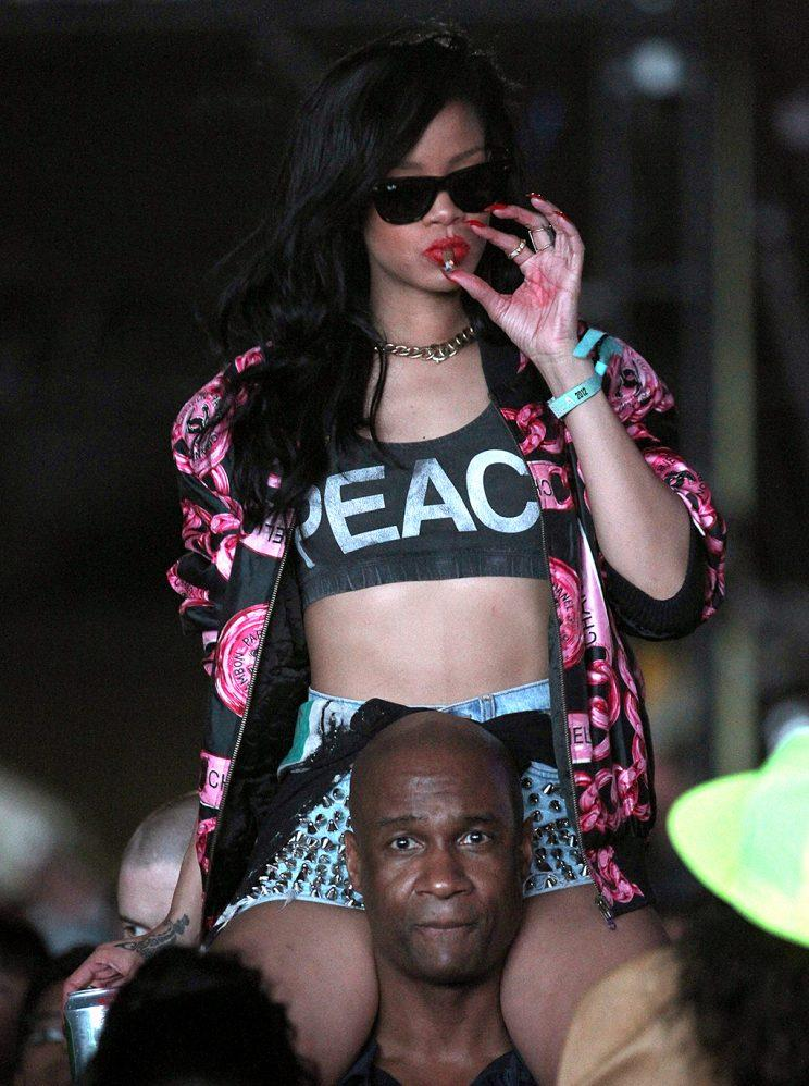 Rihanna in the audience during Day 3 of the 2012 Coachella Valley Music & Arts Festival. (Photo: Christopher Polk/Getty Images for Coachella)