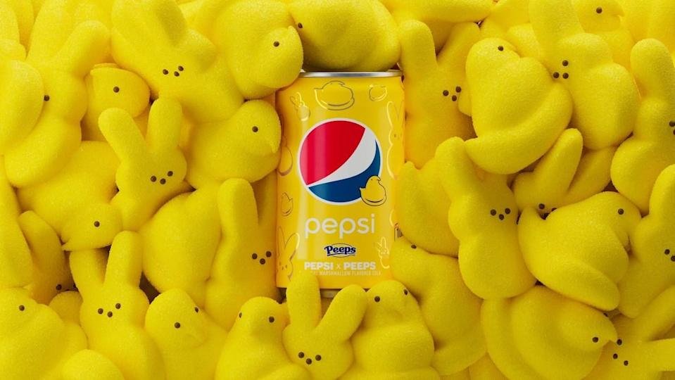 A yellow can of Pepsi x Peeps surrounded by yellow bunny Peeps candy