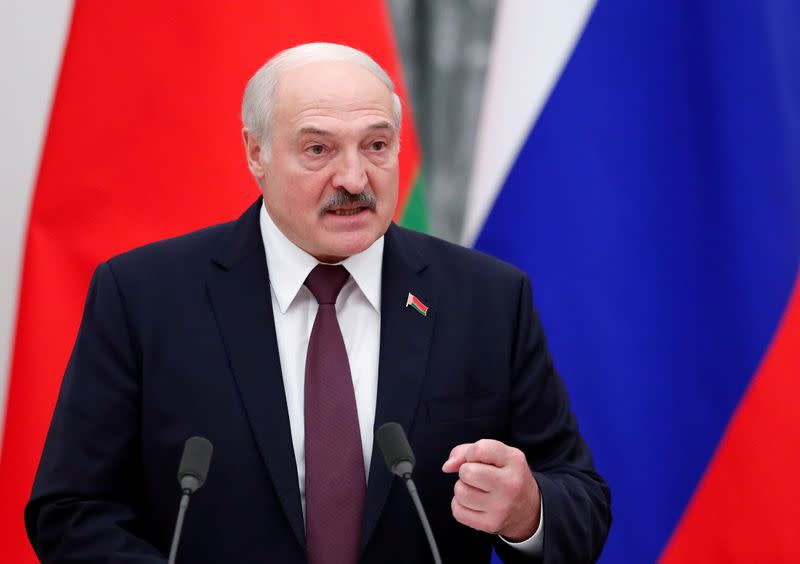 FILE PHOTO: Belarusian President Lukashenko attends a news conference in Moscow