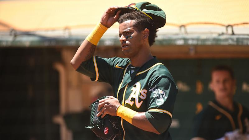 A's Khris Davis 'pressing some' during miserable start to shortened season