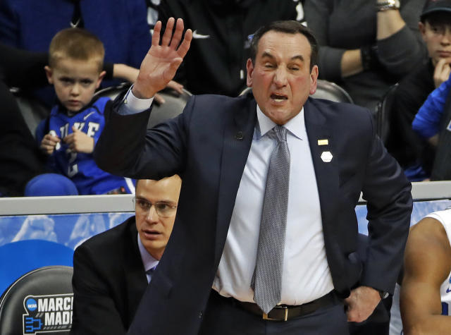 Mike Krzyzewski shouts instructions during Duke's win over Rhode Island in the second round. (AP)