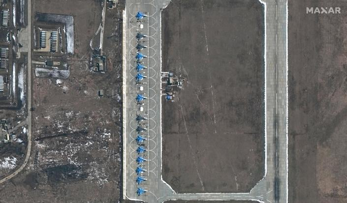 Su-34 fighter jets are seen at the Russian military's Morozovsk airbase, about 100 miles east of the Ukrainian border in southern Russia, in a satellite image provided by Maxar Technologies that it said was taken in April 2021, amid a Russian military buildup in the region. / Credit: Satellite image ©2021 Maxar Technologies