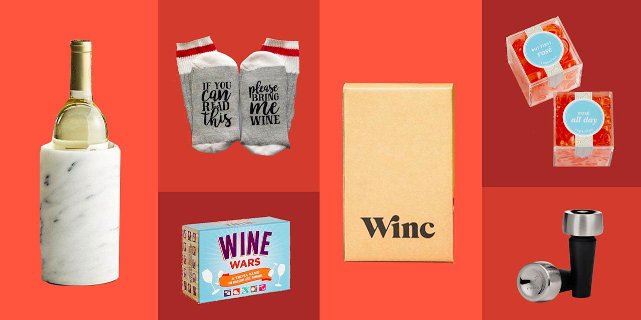 "<p>Whether you're shopping for a gift for your significant other, family member, or <a href=""https://www.delish.com/kitchen-tools/g4499/best-friend-gifts/"" target=""_blank"">best friend</a>, if they love wine, they'll love these gifts. With tools that make your wine better, giant glasses, nice bottles, and DIY kits, there's something for every red, white, and rosé lover here.</p>"