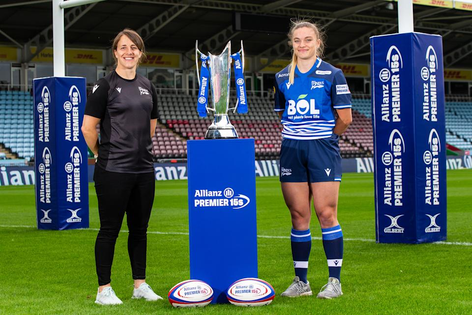 Katy Daley McLean and Jodie Ounsley of Sale Sharks during the Allianz Premier 15s 2021-2022 Season launch at Twickenham Stoop